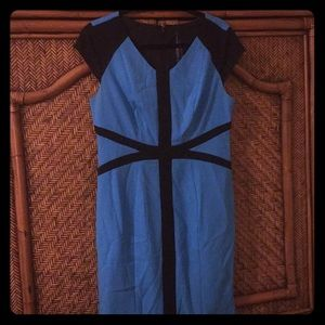 Blue and black patterned dress Marc New York